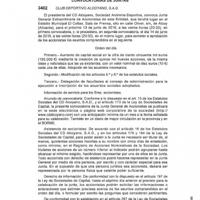 CONVOCATORIA JUNTA GENERAL EXTRAORDINARIA DE ACCIONISTAS