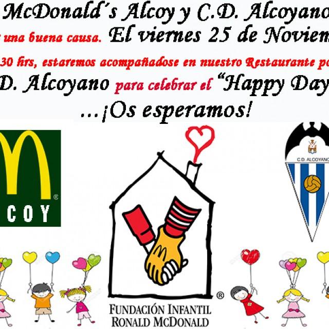 EL CD ALCOYANO ESTARÁ EL VIERNES 25 EN McDONALD'S ALCOY PARA CELEBRAR EL HAPPY DAY